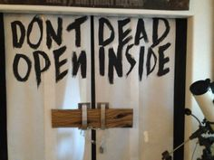 #thewalkingdead #parties Keltonu0027s 12th Birthday   Donu0027t Open. Dead Inside.  Halloween Door DecorationsHalloween ...
