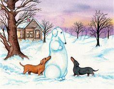 doxie snowman