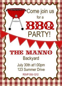 A Barbecue - Free Printable Party Invitation Template   Greetings ...