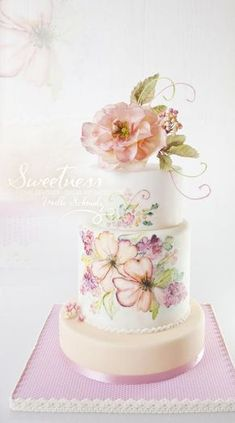 """Summer Blush"" handpainted Cake by Milla Schmalz … Black Wedding Cakes, Beautiful Wedding Cakes, Gorgeous Cakes, Pretty Cakes, Amazing Cakes, Bolo Floral, Floral Cake, Cupcake Torte, Cupcakes"