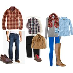 Fall Family outfits! Plaid for the boys, ladies with solid tops and bottoms and a scarf to break it up!