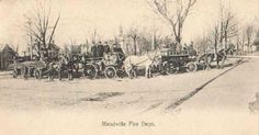Meadville Fire Department carts and horses on the Diamond in Meadville, PA