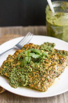 Chimichurri Tempeh (Vegan, Gluten-Free) - use the lower fat chimichurri sauce recipe
