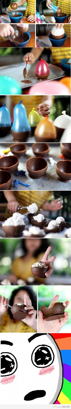 Environmentally sound idea - eat the bowl...less waste and even better...no dishes. I'll find any excuse to eat chocolate.