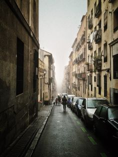 Calle Zurita on a foggy morning