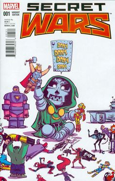 Secret Wars #1 variant cover - Doctor Doom by Skottie Young. So cute!!