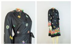 Vintage Dress 60s 70s Leslie Pomer Mad Men Day Dress  Long Sleeves Colorful… Mad Men, Pink Blue, Blue And White, Flower Belt, Men's Day, Union Made, Plus Size Vintage, Color Shades, Mandarin Collar