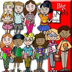 Bigs kids classroom clip art features 10 items in color and 9 black & white items for a total of 19 files in png. All images are 300dpi.This clipart license allows for personal, educational, and commercial small business use. If using commercially, or in a freebie, credit to my store by a link is required and appreciated.