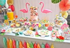 Party table from Spring Flamingo Birthday Party at Kara's Party Ideas. See more at karaspartyideas.com!