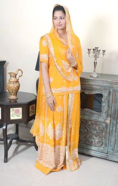 Gorgeous Rajputi Yellow Poshak