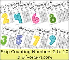 FREE Skip Counting Printable - Numbers 2 to 10 - 2 Different types - 3Dinosaurs.com