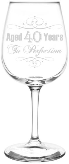 36th - 40th | Aged To Perfection Elegant & Vintage Birthday Celebration Inspired - Laser Engraved 12.75oz Libbey Wine Taster Glass