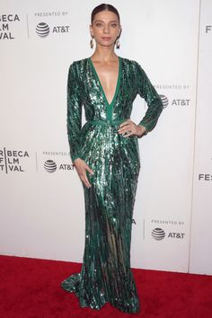 "Angela Sarafyan wore a green Elie Saab Pre-Fall 2019 embellished gown to the ""Extremely Wicked, Shockingly Evil and Vile"" premiere during the Tribeca Film Festival. Red Carpet Ready, Red Carpet Looks, Grey Carpet, Embellished Gown, Sequin Gown, Celebrity Dresses, Celebrity Style, Star Fashion, Runway Fashion"