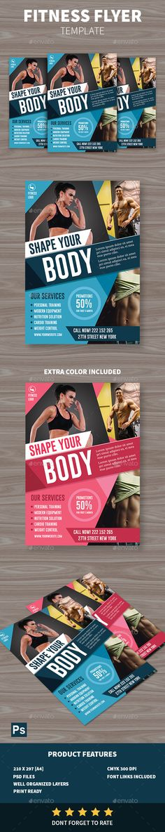 #Fitness #Flyer - Sports #Events Download here: https://graphicriver.net/item/fitness-flyer/19539277?ref=alena994