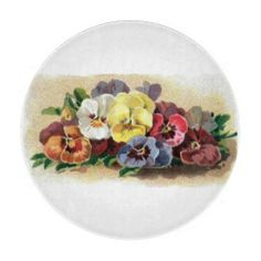 Colorful Vintage Pansies Floral Glass Cutting Board for the #kitchen #homedecor  http://www.zazzle.com/sara_valor*