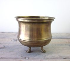 Claw Footed Brass Planter. $16.00, via Etsy.