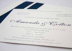 modelo 11: convite de casamento clássico em azul marinho e branco - Galeria de Convites