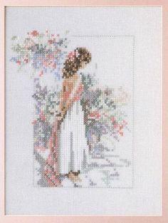 0 point de croix fille romantique - cross stitch romantic girl