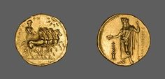 Greek, Gold stater of Cyrene, North Africa, c.322-308 BC (source). On the obverse is Nike driving a quadringa, and on the reverse is Zeus Ammon
