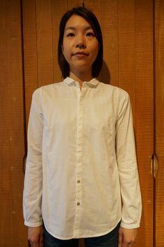 80/-二重織ウイング衿長袖シャツ