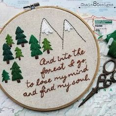 I gave my husband's office a redo for Father's Day and made him this to go with all the other hiking related bits. I really love this quote and I think it perfectly sums up how he feels when he's hiking. Embroidery Patterns Free, Hand Embroidery Designs, Diy Embroidery, Cross Stitch Embroidery, Cross Stitch Patterns, Crochet Patterns, Reindeer Headband, Happy Little Trees, Embroidery On Clothes