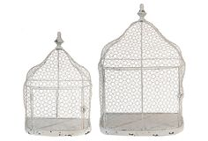 One Kings Lane - Refresh for Fall - Set of 2 Plant Cages, White