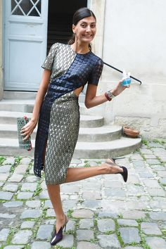 Giovanna Battaglia at Paris Fashion Week.