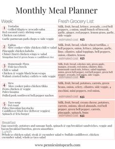 Meal Planning for Beginners - October 2018 Meal Plan & Grocery Haul - Pennies into Pearls - Recipes Monthly Meal Planner, Family Meal Planning, Menu Planning, Grocery Haul, Grocery Lists, Healthy Groceries, Healthy Recipes On A Budget, Diet Meal Plans, Meal Prep