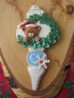 Teddy bear ornament #Christmas #cookies
