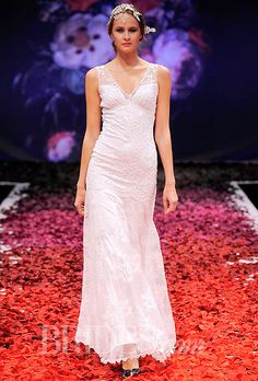 Claire Pettibone - Fall 2014 - Iris Blue and Ivory Lace Sheath Wedding Dress with Sheer Tulle Straps |