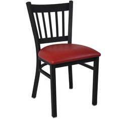 Advantage Black Metal Vertical Slat Back Restaurant Chairs at Classroom Essentials Online. Call today for discount prices on restaurant, café & bistro chairs! Cafe Bistro, Bistro Chairs, Cafe Chairs, Dining Chairs, Restaurant Furniture, Restaurant Chairs, Black Restaurant, Chair Design, Black Metal