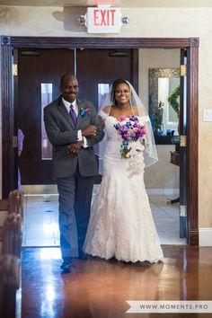 Church Wedding, Wedding Photography, Indoor Ceremony, Purple Bouquet, Bride Entrance