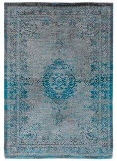Louis De Poortere Fading World Rug Grey Turquoise - Main