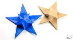 A tutorial for Philp Chapman-Bell's origami 'Puff Star'. This five pointed star has an inflated puffy star in the middle. Folded from 1 sheet of paper.
