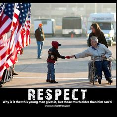"Because as we get older people think ""If you respect me I'll respect you"" HELL TO THE NO I'm going to shake the hand of or wave at any veteran I see I Love America, God Bless America, Military Veterans, Military Life, Military Quotes, Military Humor, Honor Veterans, Biker Quotes, Navy Military"