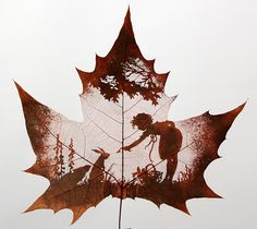 Leaf carving involves cutting away at a leaf until it reveals an image. This is a craft practiced by Nature's Art, a studio in Hengshui, China.