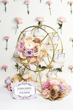 Carnival-themed bridal shower - wire mini ferris wheel filled with flowers + fun facts about the bride {Courtesy of Best Friends For Frosting} Bridal Shower Menu, Summer Bridal Showers, Gold Bridal Showers, Bridal Shower Games, Bridal Shower Decorations, Wedding Reception Decorations, Bridal Shower Invitations, Wedding Themes, Carnival Themes