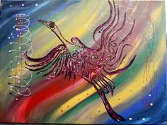 titre ; l'envol abstrait tribal acrylique sur toile ,plusieurs techniques hauteur 60 cm , largeur 80cm