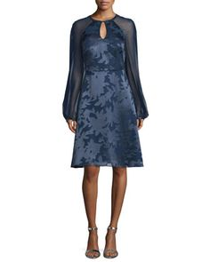 Sheer-Sleeve+Burnout+Dress,+Navy+by+Kay+Unger+New+York+at+Neiman+Marcus.
