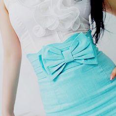 Pretty blue bow.
