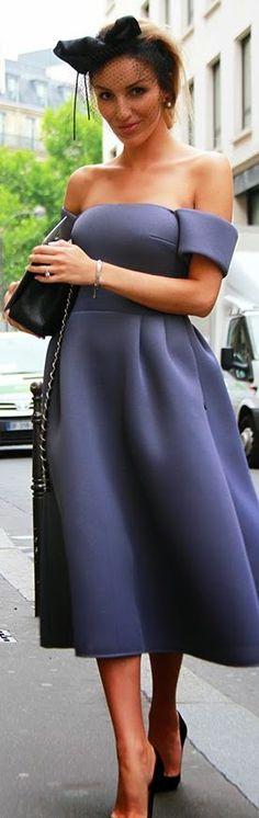 Blue Grey Off Shoulder Full A-line Prom Midi Dress