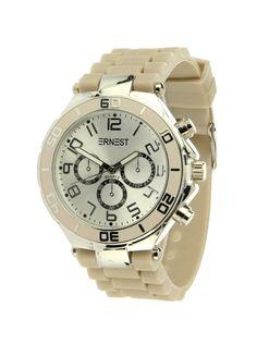 Ernest Horloge Zilver - Klei is een prachtig zilveren horloge met een klei kleurige kunststoffen band en een zilveren wijzerplaat.