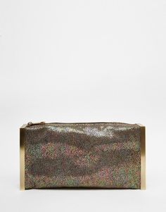 Image 1 ofGlamorous Clutch Bag in Stone with Metal Edges