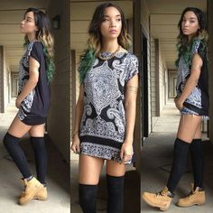 Thigh High Socks and Timberland Boots