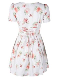 Shop White V-neck Short Sleeve Floral Chiffon Dress from choies.com .Free shipping Worldwide.$17.9