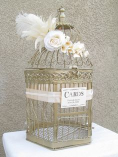Wedding Card Box X Large / Champagne / Pearls / Art Deco / Bird Cage Wedding Card Holder / Ostrich Feather. $110.00, via Etsy.