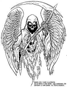 grim reaper original ink drawing by chadsavage on etsy