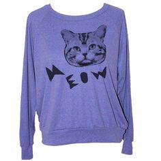 Meow Cat Sweatshirt Purple