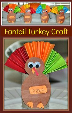 Paper Roll Fantail Turkey Craft. You can turn these into fun kid-made place cards for the table.
