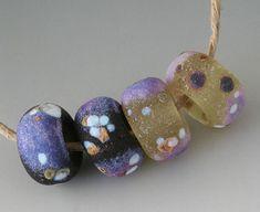 Rustic Sedona 4 Handmade Lampwork Beads Black Purple by outwest